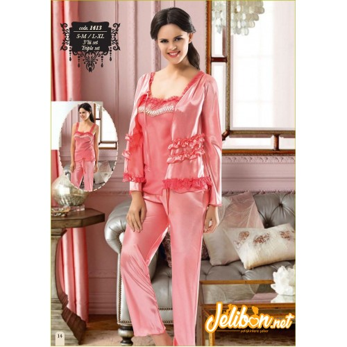 Sistina 1413 Saten 3'lü Pijama Takım